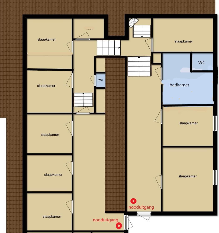 eerste en tweede verdieping groepen map - Groepsaccommodatie en vergaderlocatie HiekerHoes Drenthe